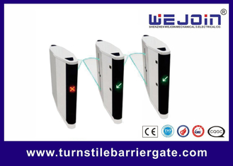 Automatic pedestrian waist high 304 stainless steel flap barrier turnstile gate with RFID card