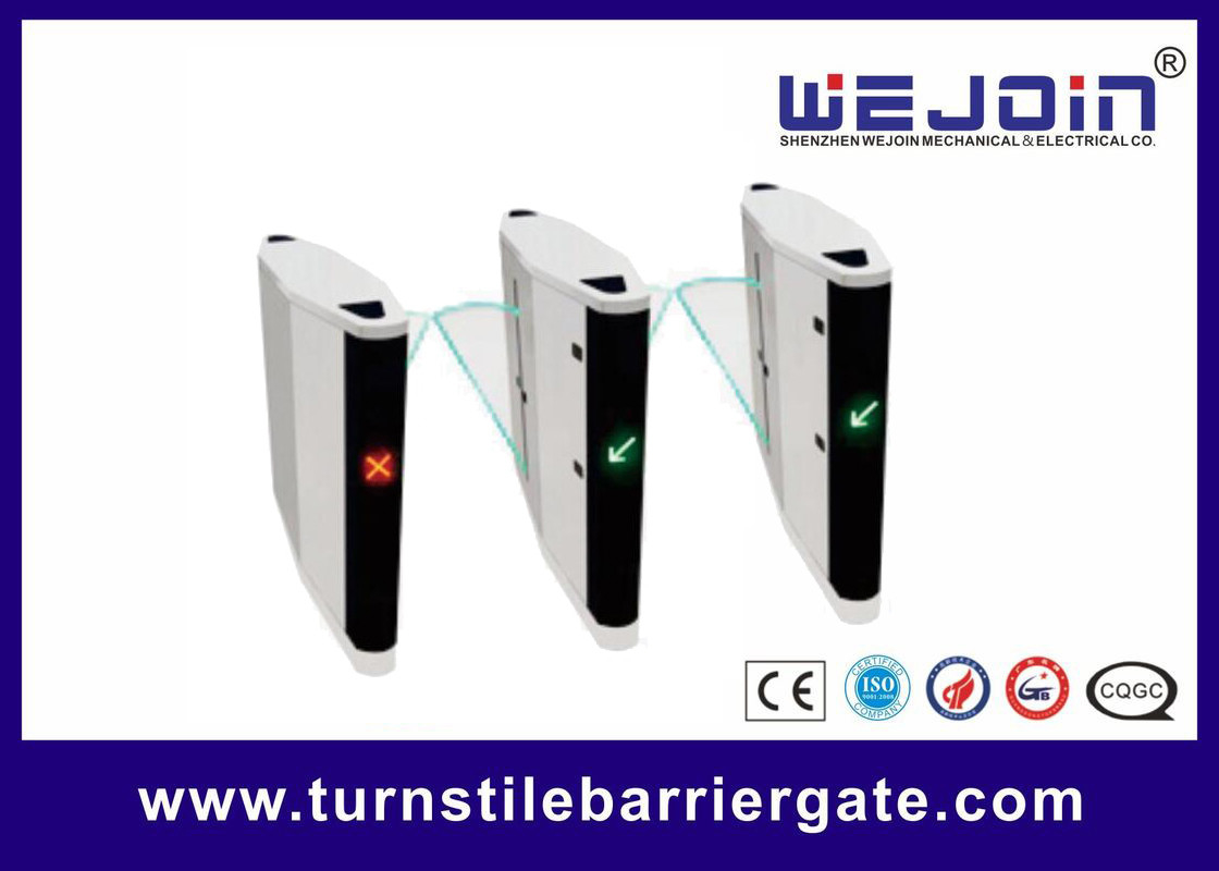 Automatic pedestrian waist high 304 stainless steel flap barrier turnstile gate with RFID card サプライヤー